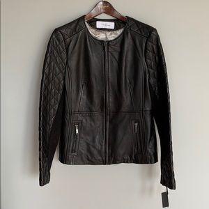 NWT T Tahari Helene Quilted Sleeve Leather Jacket